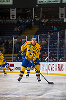 KELOWNA, BC - DECEMBER 18: Rickard Hugg #26 of Team Sweden skates with the puck during warm up against the Team Russia  at Prospera Place on December 18, 2018 in Kelowna, Canada. (Photo by Marissa Baecker/Getty Images)***Local Caption***