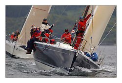Yachting- The first days inshore racing  of the Bell Lawrie Scottish series 2003 at Tarbert Loch Fyne.  Light shifty winds dominated the racing...Azure a Dubois 40,IRL 40 appraoching the weather mark...Pics Marc Turner / PFM