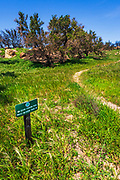 Trail sign on the West Meadow Trail at Charmlee Wilderness Park, Malibu, California USA