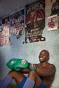 Young boxer sitting on gym, Gimnasio Rafael Trejo, Havana, Cuba
