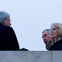 Britain's Prince Charles (C) and his wife Camilla, Duchess of Cornwall (R) meet Hungarian president Laszlo Solyom (L) during their visit Budapest, Hungary. Wednesday, 17. March 2010. ATTILA VOLGYI