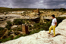 CO: Colorado Mesa Verde National Park, Hovenweep ruins, model released.          .Photo Copyright: Lee Foster, lee@fostertravel.com, www.fostertravel.com, (510) 549-2202.Image comesa209