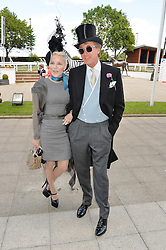 DAPHNE GUINNESS and ROBIN HURLSTONE at the Investec Derby 2015 at Epsom Racecourse, Epsom, Surrey on 6th June 2015.