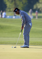 March 30, 2018 - Humble, TX, U.S. - HUMBLE, TX - MARCH 30:  Yuta Ikeda watches his putt on 18 during Round 1 of the Houston Open on March 30, 2018 at Golf Club of Houston in Humble, Texas.  (Photo by Leslie Plaza Johnson/Icon Sportswire) (Credit Image: © Leslie Plaza Johnson/Icon SMI via ZUMA Press)