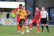 Medy Elito of Newport county (c) celebrates after he scores his teams 1st goal to make it 1-1. Skybet football league two match, Newport county v Oxford Utd at Rodney Parade in Newport, South Wales on Tuesday 19th April 2016.<br /> pic by Andrew Orchard, Andrew Orchard sports photography.