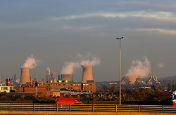 Gas fired power station & A19 flyover; Middlesborough; Teesside UK