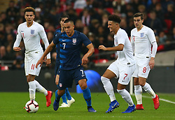 November 15, 2018 - London, United Kingdom - L-R England's Dele Alli, Bobby Wood of USA , England's Jadon Sancho and England's Harry Winks.during the friendly soccer match between England and USA at the Wembley Stadium in London, England, on 15 November 2018. (Credit Image: © Action Foto Sport/NurPhoto via ZUMA Press)