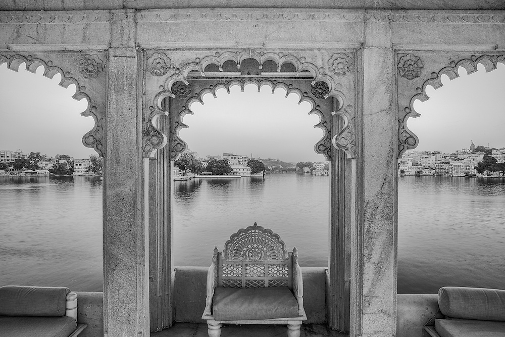 A beautiful terrace at the Taj Lake Palace Hotel overlooks Lake Pichola.  A silent dawn added to the serene beauty of the location.