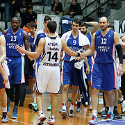 Anadolu Efes's Players during their Turkish basketball league match Besiktas integral Forex between Anadolu Efes at BJK Akatlar Arena in Istanbul, Turkey, Monday, January 05, 2015. Photo by TURKPIX