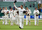 Marcus Trescothick of Somerset leaves the field in his last match as he walks off to retire from playing with a round of applause from the spectators and heis team mates during the Specsavers County Champ Div 1 match between Somerset County Cricket Club and Essex County Cricket Club at the Cooper Associates County Ground, Taunton, United Kingdom on 26 September 2019.
