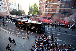 The Valencia team bus makes it way through the crowd of supporters ahead of the UEFA Europa League, Semi Final, Second Leg at the Camp de Mestalla, Valencia.