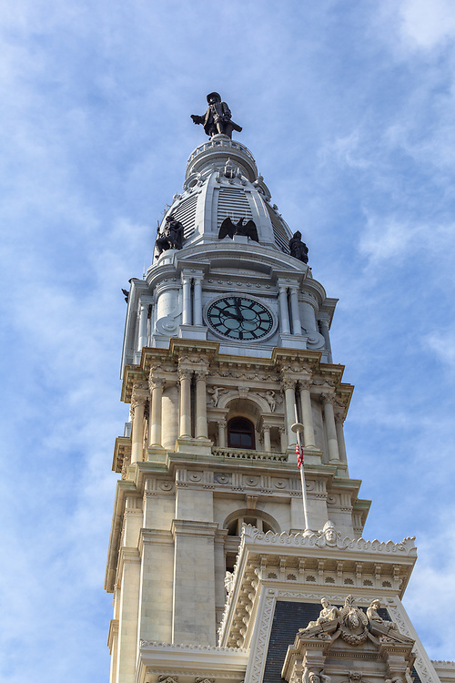 Philadelphia, PA, USA - August 13, 2011: Close up of the town on City Hall, which serves as the center of the Municipal government.