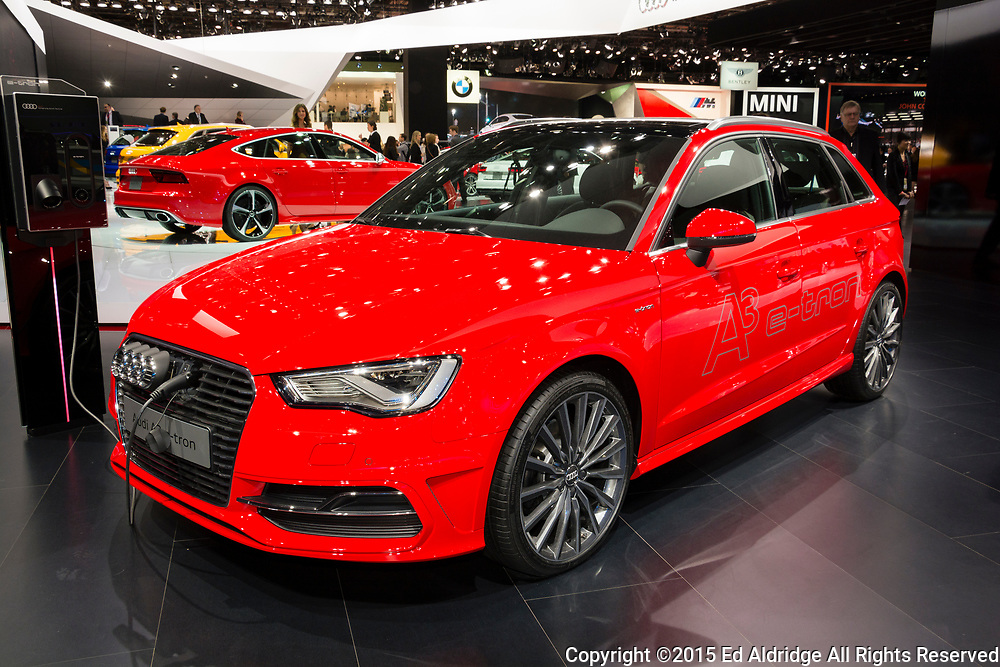 DETROIT, MI, USA - JANUARY 13, 2015: Audi A3 Etron on display during the 2015 Detroit International Auto Show at the COBO Center in downtown Detroit.