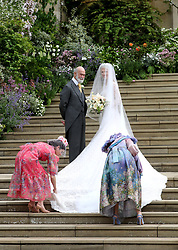 Lady Gabriella Windsor with her father Prince Michael of Kent and special attendants arrive for her wedding to Thomas Kingston at St George's Chapel in Windsor Castle.