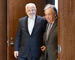 April 24, 2018 - New York, NY, U.S - MOHAMMAD JAVAD ZARIF, Minister for Foreign Affairs of Iran, and ANTONIO GUTERRES, Secretary General of the United Nations, at the United Nations in New York City on April 24, 2018 (Credit Image: © Michael Brochstein via ZUMA Wire)