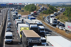 © Licensed to London News Pictures. 17/08/2016<br /> SEVERE TRAFFIC DELAYS IN KENT.<br /> Traffic on the M25 Dartford anti-clockwise towards Dartford Bridge into Essex.<br /> QE2 Bridge is closed in Dartford,Kent in both directions after an accident at 2am this morning (17.08.2016).    The closure is causing severe traffic on the M25 AND A2 both of which are at a standstill.<br /> <br /> (Byline:Grant Falvey/LNP)