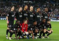 Equipe -Real de Madrid - Lyon - Champions League C1 - 23.11.2005 - OL - Foot Football - largeur attitude pose <br /> <br /> debout de gauche a droite<br /> TIAGO - REVEILLERE - CAREW - CRIS - MONSOREAU - CACAPA - <br /> Accroupis de gauche a droite<br /> DIARRA - COUPET - MALOUDA - GOVOU - JUNINHOe