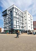 Modern architecture James Hehir building, University of Suffolk, Ipswich waterfront, Suffolk, England, UK