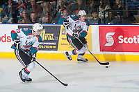 KELOWNA, CANADA - JANUARY 23: Leon Draisaitl #29 of Kelowna Rockets skates up the ice with the puck against the Everett Silvertips on January 23, 2015 at Prospera Place in Kelowna, British Columbia, Canada.  (Photo by Marissa Baecker/Shoot the Breeze)  *** Local Caption *** Leon Draisaitl;