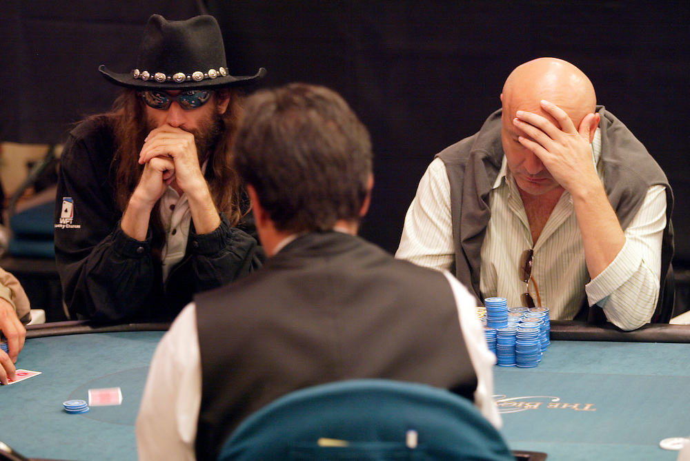 """September 1, 2003: Poker professional Chris Ferguson, left, also known as """"Jesus"""", at the World Poker Tour event at the Bicycle Club in Los Angeles."""