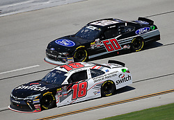 April 27, 2018 - Talladega, AL, U.S. - TALLADEGA, AL - APRIL 27:  Ty Majeski, Roush Fenway Racing, Ford Mustang Ford (60) and Noah Gragson, Joe Gibbs Racing, Toyota Camry Switch (18) during practice for the NASCAR Xfinity Series Sparks 300 race on April 27, 2018, at the Talladega Superspeedway in Talladega, AL.  (Photo by David John Griffin/Icon Sportswire) (Credit Image: © David J. Griffin/Icon SMI via ZUMA Press)