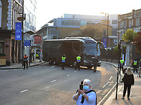 Football - 2020 / 2021 Premier League - Chelsea vs Brighton & Hove Albion - Stamford Bridge<br /> <br /> The Team coaches struggle to get through the protests outside the ground <br /> <br /> Credit : COLORSPORT/ANDREW COWIE