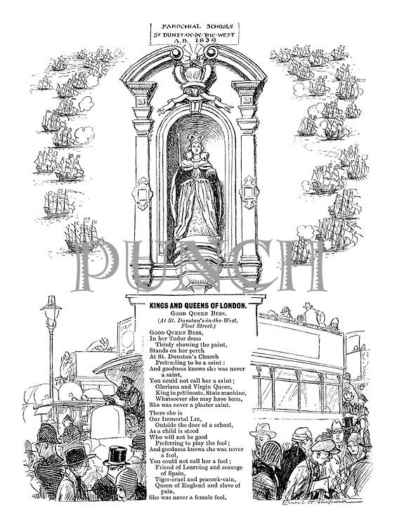Kings and Queens of London. Good Queen Bess. (At St. Dunstan's-in-the-West, Fleet Street)