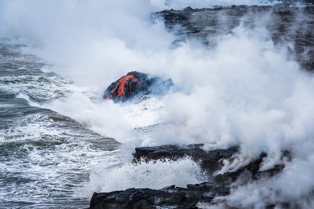 Kamokuna lava flow entering the Pacific Ocean, Hawaii Volcanoes National Park, The Big Island, Hawaii USA