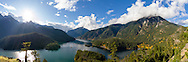 Panorama view of Diablo Lake in North Cascades National Park, Washington State, USA.  Photographed from the Diablo Lake overlook on the North Cascades Highway (SR 20).  The Diablo Lake tour boat Cascadian can be seen on Diablo Lake on the right.