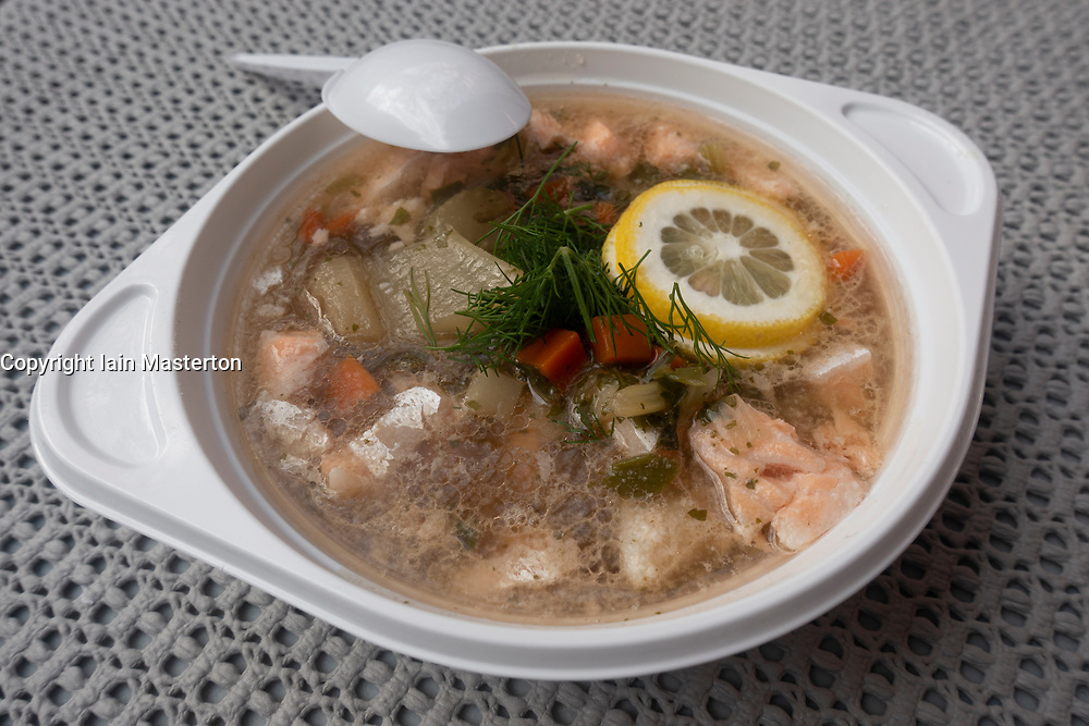 Detail of bowl of fish soup from stall at weekend market in Prenzlauer berg in Berlin, Germany