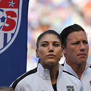 Hope Sole, (left) and Abby Wambach, U.S. Women's National Team, before the U.S. Women's National Team Vs Korean Republic, International Soccer Friendly in preparation for the FIFA Women's World Cup Canada 2015. Red Bull Arena, Harrison, New Jersey. USA. 30th May 2015. Photo Tim Clayton