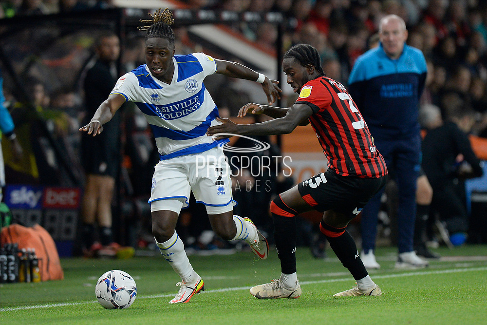 Osman Kakay (2) of Queens Park Rangers battles for possession with Jordan Zemura (33) of AFC Bournemouth during the EFL Sky Bet Championship match between Bournemouth and Queens Park Rangers at the Vitality Stadium, Bournemouth, England on 14 September 2021.