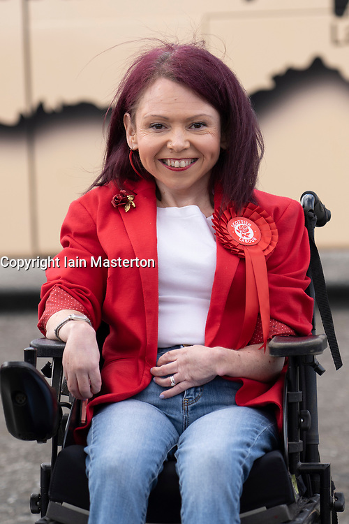 Glasgow, Scotland, UK. 5 May 2021. Scottish Labour Leader Anas Sarwar and former Prime Minister Gordon Brown appear at an eve of polls drive-in campaign rally in Glasgow today. Labour candidate Pam Duncan-Glancy.  Iain Masterton/Alamy Live News