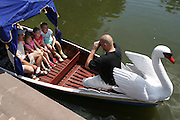 Swan boat on a Sunday afternoon in June. Lazienki Park, Warsaw.