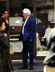 April 30, 2019 - Milan - Milan, Patrizio Bertelli in the center Patrizio Bertelli, the patron of the ''Prada'' brand together with his wife Miuccia, surprised at the exit of the restaurant while talking to a friend, then his driver arrives to take him home. (Credit Image: © Mimmo Carriero/IPA via ZUMA Press)