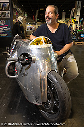 Marcel Brauchli of vTR Motorrad AG in Schmerikon, Switzerland with his Spitfire custom BMW R-1200-R in the Sultans of Speed display at the Intermot International Motorcycle Fair. Cologne, Germany. Thursday October 4, 2018. Photography ©2018 Michael Lichter.