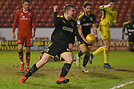 AFC Wimbledon defender Steve Seddon (15) scores a goal 0-1 and celebrates during the EFL Sky Bet League 1 match between Walsall and AFC Wimbledon at the Banks's Stadium, Walsall, England on 12 February 2019.
