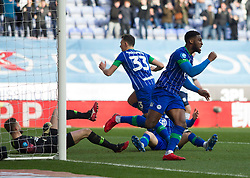 Cheyenne Dunkley of Wigan Athletic celebrates after scoring his sides first goal - Mandatory by-line: Jack Phillips/JMP - 08/02/2020 - FOOTBALL - DW Stadium - Wigan, England - Wigan Athletic v Preston North End - English Football League Championship
