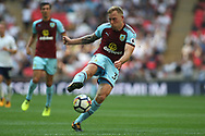 Scott Arfield of Burnley takes a shot at goal. Premier league match, Tottenham Hotspur v Burnley at Wembley Stadium in London on Sunday 27th August 2017.<br /> pic by Steffan Bowen, Andrew Orchard sports photography.