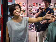 """26 JUNE 2015 - BANGKOK, THAILAND:  VERONICA PEDROSA, a correspondent with Al Jazeera and director of the Foreign Correspondents' Club of Thailand (FCCT) announces that a scheduled press conference by Human Rights Watch (HRW) about human rights in Vietnam was cancelled by order of the Thai government. HRW was scheduled to launch a new report, """"Persecuting 'Evil Way' Religion: Abuses against Montagnards in Vietnam"""", at the FCCT in Bangkok Friday morning. The report made no mention of the human rights situation in Thailand. The Thai Ministry of Foreign Affairs (MFA) contacted HRW Thursday afternoon and asked them to cancel the program because it was a """"sensitive"""" matter that could impact on Thai-Vietnam relations. HRW told the MFA that they would go ahead with the report's release. Friday morning, before the report was scheduled to be released, Thai police officers arrived at the FCCT and cancelled the event. Phil Robertson, deputy director of Human Rights Watch's Asia division, said, """"By stepping in to defend a neighboring state's human rights violations against a group of its people and interrupting a scheduled press conference, Thailand's military junta is violating freedom of assembly and demonstrating its contempt for freedom of the press.""""      PHOTO BY JACK KURTZ"""