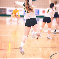 3rd year setter, Kirstin Greve (17) of the Regina Cougars during the Women's Volleyball home game on Fri Jan 18 at Centre for Kinesiology, Health & Sport. Credit: Arthur Ward/Arthur Images