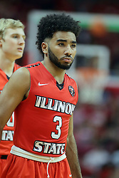 22 February 2017:  Keyshawn Evans(3) during a College MVC (Missouri Valley conference) mens basketball game between the Southern Illinois Salukis and Illinois State Redbirds in  Redbird Arena, Normal IL