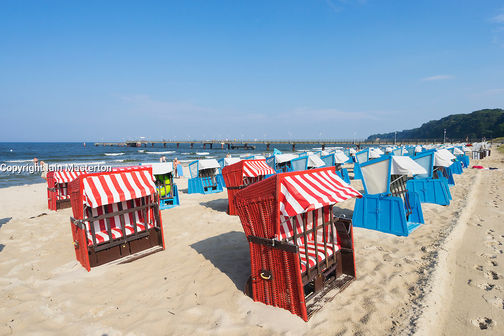 Traditional Strandkorb beach chairs on beach at Gohren on Rugen Island in Germany