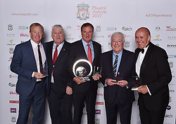 LIVERPOOL, ENGLAND - Tuesday, May 9, 2017: Former players and members of the Liverpool team that won the European Cup in Rome in 1977 David Fairclough, David Johnson, Phil Thompson, Ian Callaghan and Phil Neal after winning the Outstanding Team Achievement Award at the Liverpool FC Players' Awards 2017 at Anfield. (Pic by Andrew Powell/Liverpool FC/Pool/Propaganda)