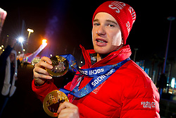 14.02.2014, Olympic Park, Adler, RUS, Sochi, 2014, Medaillenfeier Herren Langlauf, 15 km, im Bild Dario Cologna mit den Goldmedaillen // during Mens Cross Country 15km Medal Ceremony of the Olympic Winter Games Sochi 2014 at the Olympic Park in Adler, Russia on 2014/02/14. EXPA Pictures © 2014, PhotoCredit: EXPA/ Freshfocus/ Urs Lindt<br /> <br /> *****ATTENTION - for AUT, SLO, CRO, SRB, BIH, MAZ only*****