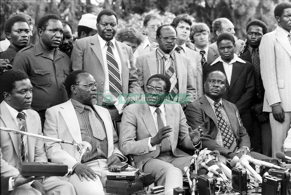 File photo dated April 18, 1980 of Zanu's (Zimbabwe African National Union) leader Robert Mugabe, the new Prime Minster of Zimbabwe, ex-Rodhesia. Zimbabwe's first post-independence leader Robert Mugabe has died aged 95. He was ousted in a military coup in November 2017, ending three decades in power. He won Zimbabwe's first election after independence, becoming prime minister in 1980. He abolished the office in 1987, becoming president instead. Photo by Gerald Buthaud/ANDBZ/ABACAPRESS.COM