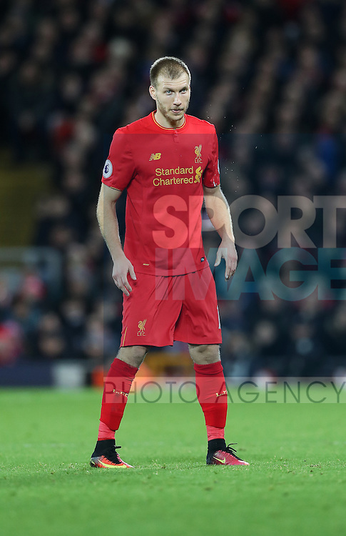 Ragnar Klavan of Liverpool during the Premier League match at Anfield Stadium, Liverpool. Picture date: December 11th, 2016.Photo credit should read: Lynne Cameron/Sportimage