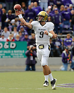 MANHATTAN, KS - OCTOBER 24:  Quarterback Tyler Hansen #9 of the Colorado Buffaloes throws a pass down field during a game against the Kansas State Wildcats on October 24, 2009 at Bill Snyder Family Stadium in Manhattan, Kansas.  (Photo by Peter G. Aiken/Getty Images)
