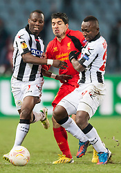 06.12.2012, Stadio Friuli, Udine, ITA, UEFA EL, Udinese Calcio vs FC Liverpool, Gruppe A, im Bild Emmanuel Agyemang (# 07, Udinese Calcio), Luis Suarez (# 07, Liverpool FC), Pablo Armero (# 27, Udinese Calcio) // during the UEFA Europa League group A match between Udinese Calcio and Liverpool FC at the Stadio Friuli, Udinese, Italy on 2012/12/06. EXPA Pictures © 2012, PhotoCredit: EXPA/ Juergen Feichter