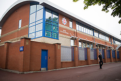 © Licensed to London News Pictures . 18/09/2013 . Hyde , UK . GV of Hyde Police Station today (18th September 2013) . The two PCs were on duty one year ago today (18th September 2012) , when they were murdered by Dale Cregan , whilst responding to a fake 999 call that he'd placed . A private family memorial event is due to take place at the gardens later this morning (18th September 2013) at 10:53 , at the time to two were murdered . Photo credit : Joel Goodman/LNP